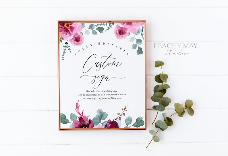 Floral Custom Sign Template 051