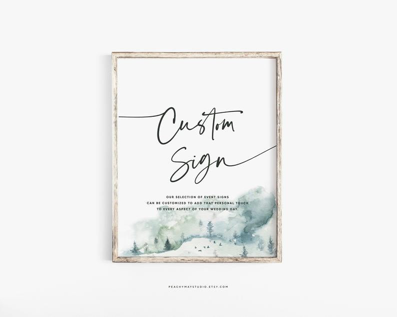 Mountain Minimalist Wedding Sign Template 052