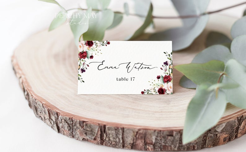 Burgundy Place Card Template 037