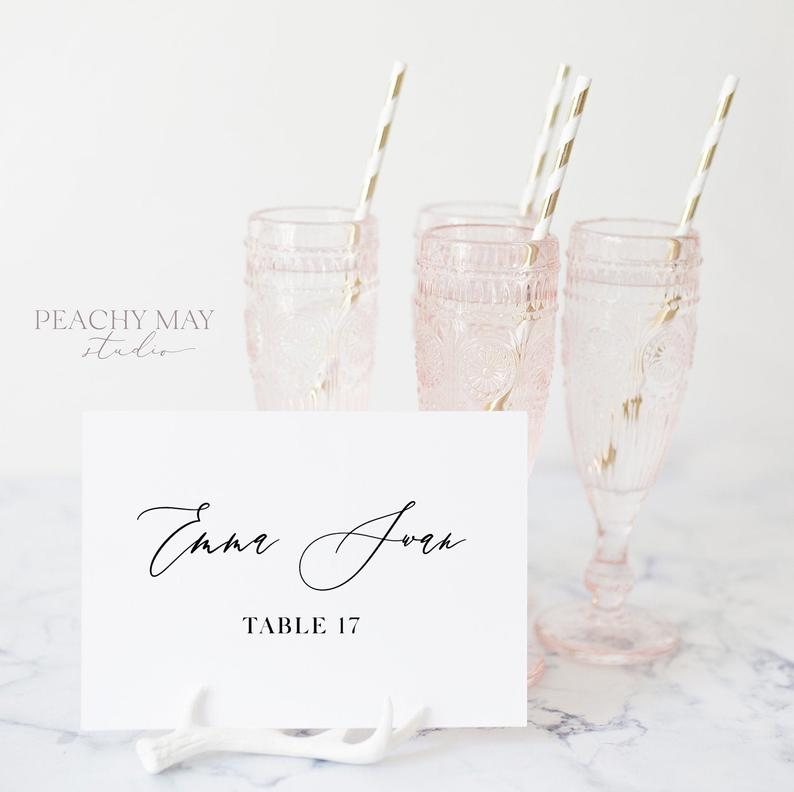 Minimalist Modern Wedding Place Card Template 046