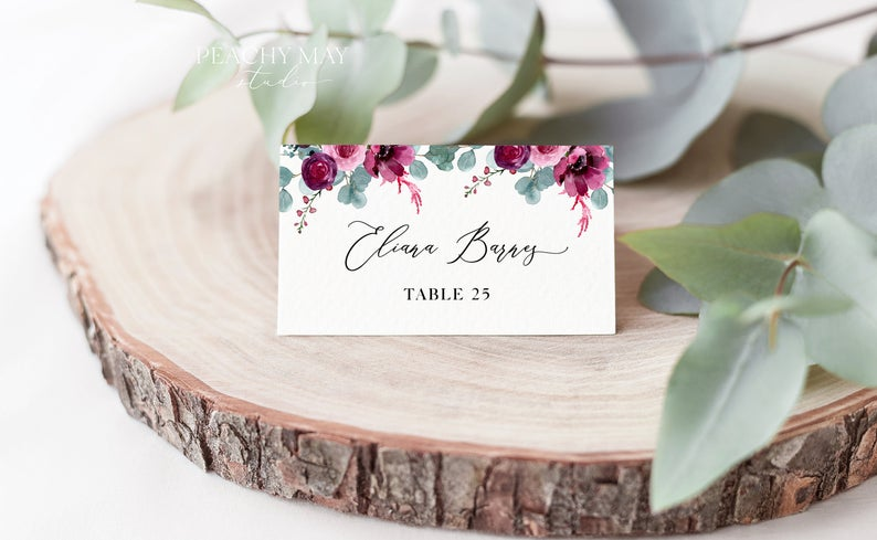 Floral eucalyptus Editable Place Card Template 051