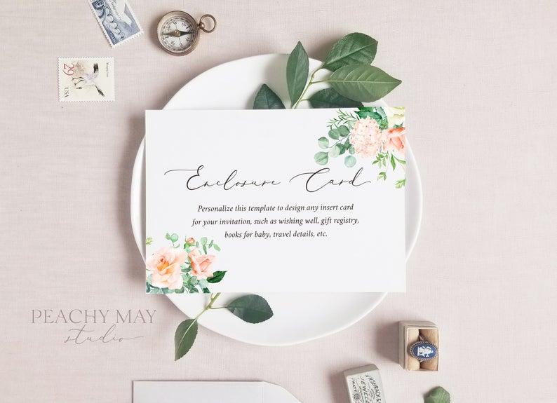 Floral Enclosure Card Template 025