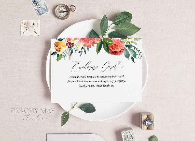 Floral Enclosure Card Template 028