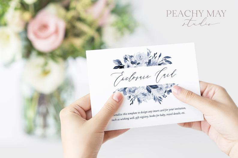 Navy Floral Enclosure Card Template 032