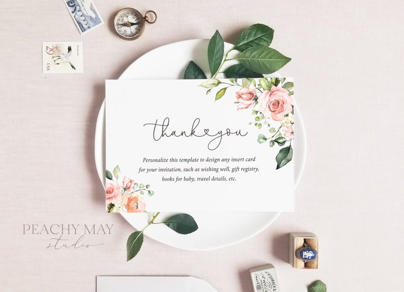 Blush Floral Enclosure Card Template 035