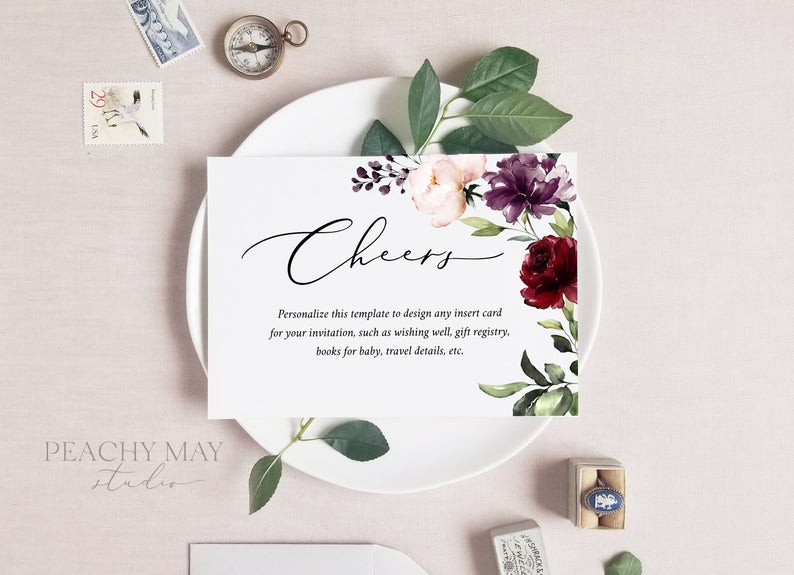 Floral Enclosure Card Template 037