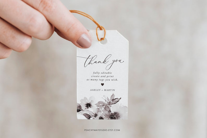 Mauve Peony Thank You Tag Template 003