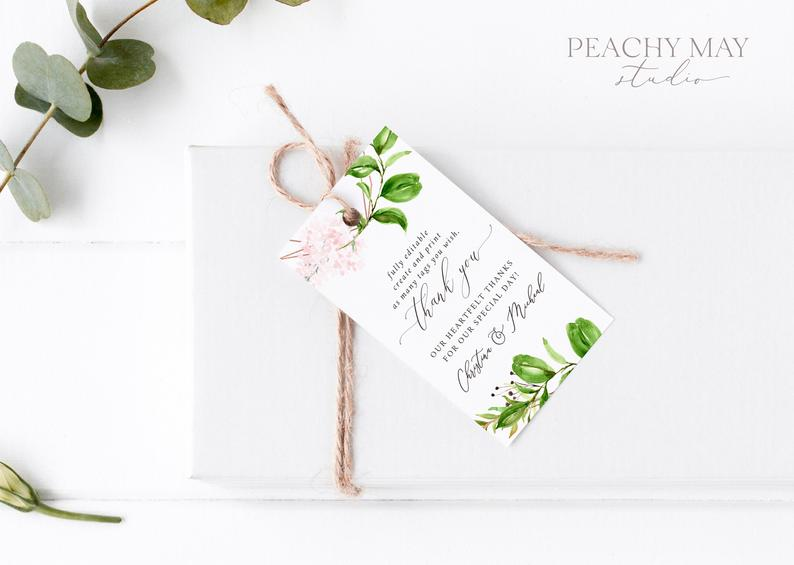 Greenery Thank You Tag Template 025