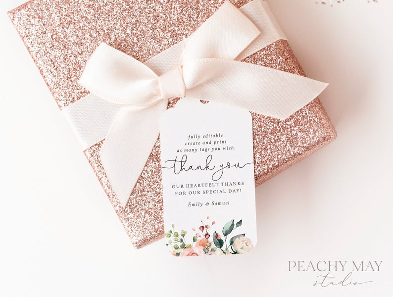 Peony Thank You Tag Template 035