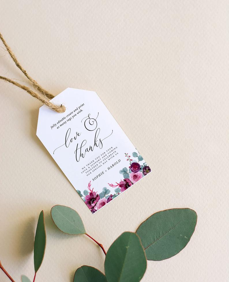 Eucalyptus Floral Thank You Tag Template  051