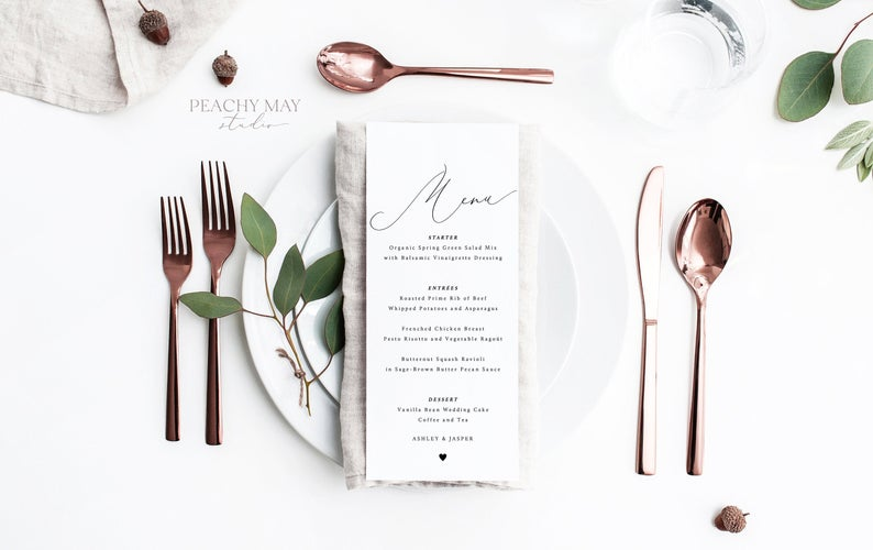 Minimalist Wedding Menu Template 031