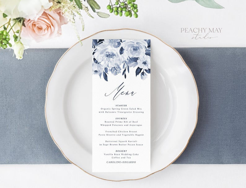 Navy Wedding Menu Template 032