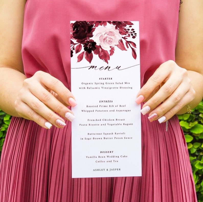 Burgundy Wedding Menu Template 034