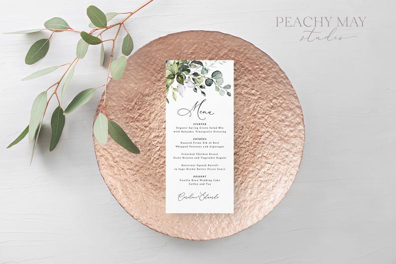 Boho Wedding Menu Template 038