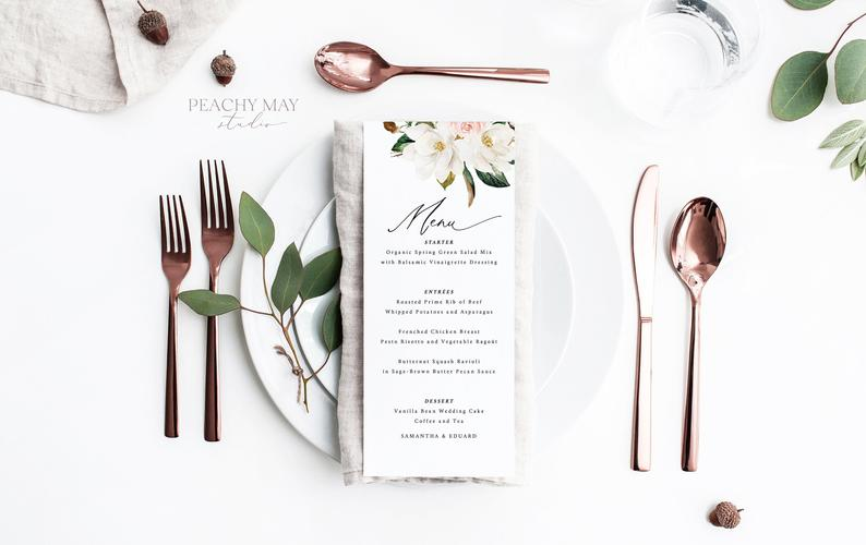 Magnolia Wedding Menu Template 039