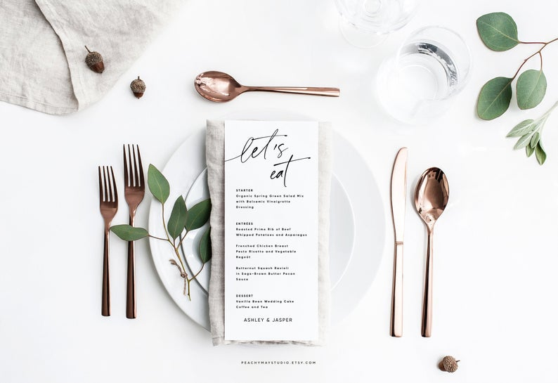 Let's Eat Minimalist Wedding Menu Template 050