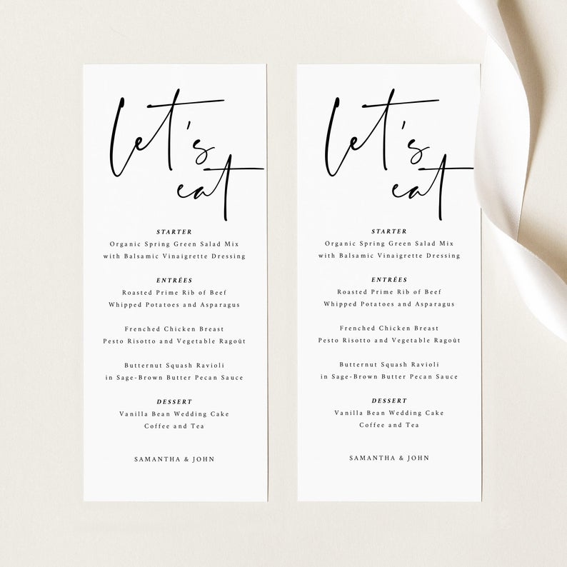 Modern Let's Eat Minimalist Wedding Menu Template 1