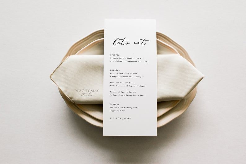 Let's Eat Minimalist Wedding Menu Template 2