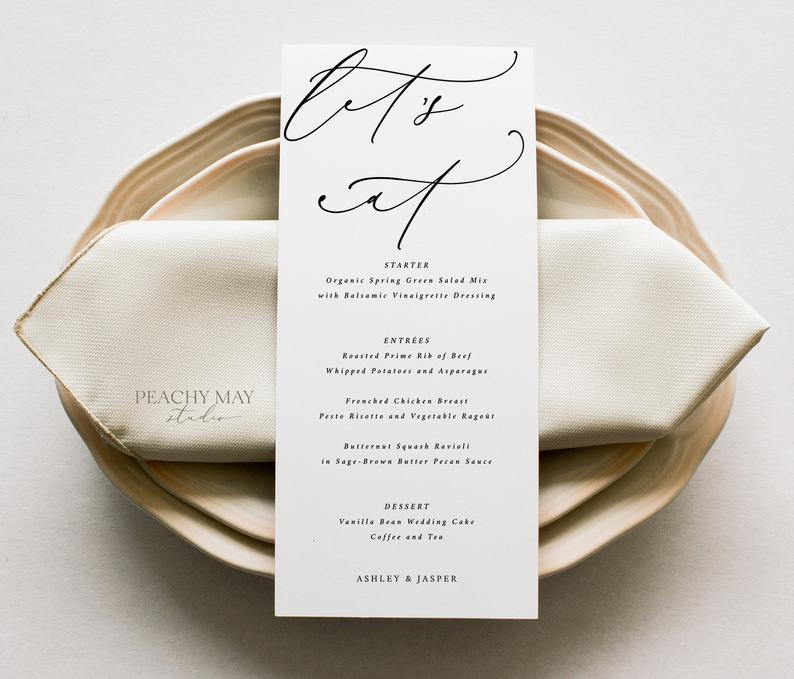 Let's Eat Minimalist Wedding Menu Template 3