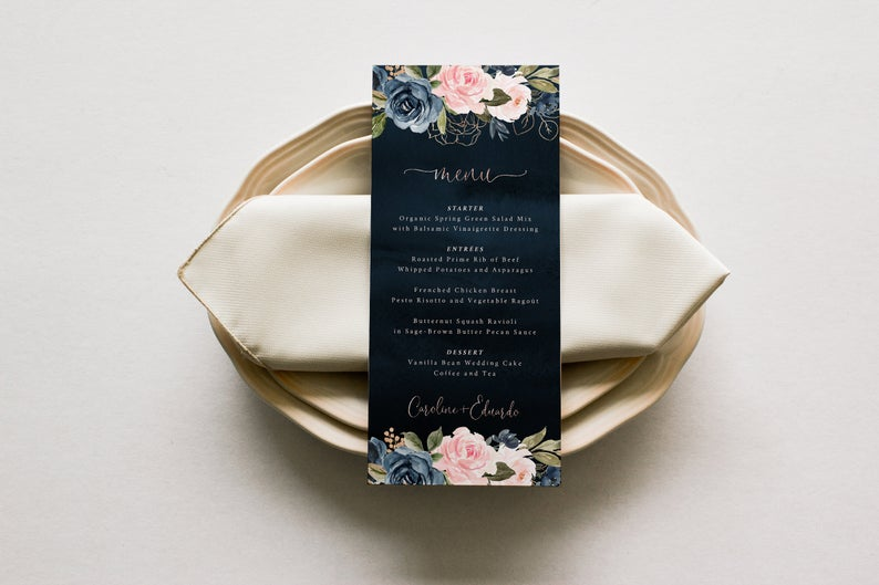 Navy blue Rose Gold Wedding Menu Template 019