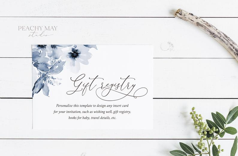 Navy Floral Enclosure Card Template 002