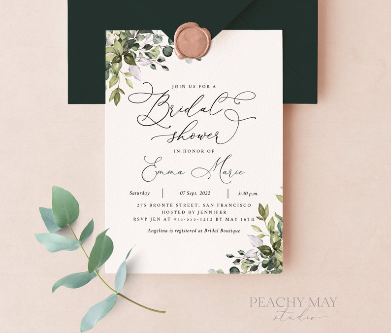 Eucalyptus Bridal Shower Instant Download Template 038