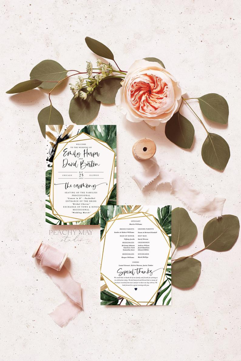 Tropical Wedding Program Instant Download Template 016