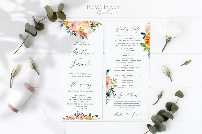 Wedding Program Instant Download Template 028