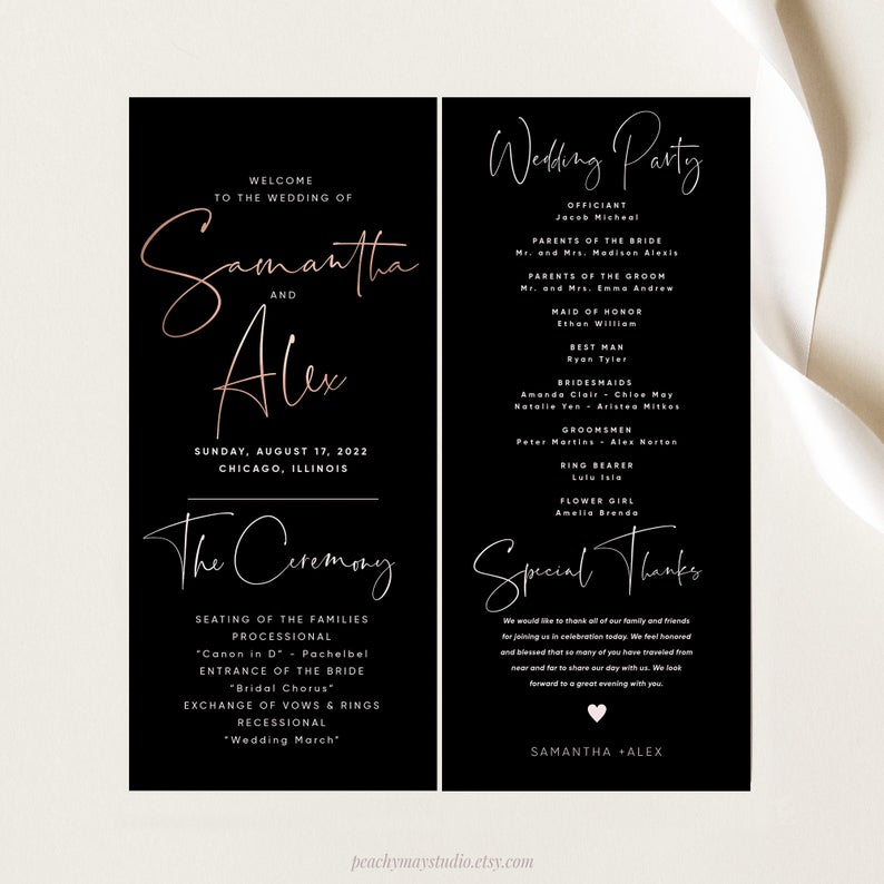 Faux Rose Gold Minimalist Wedding Program Template 043