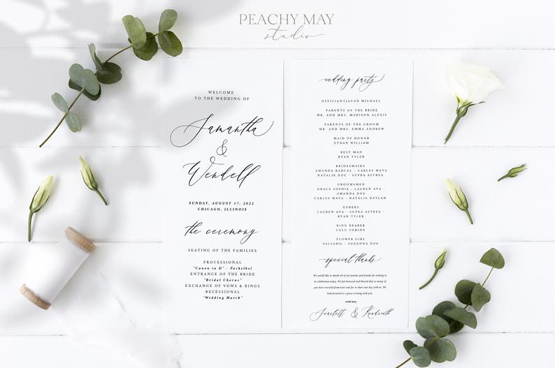Modern Minimalist Wedding Program Template 046