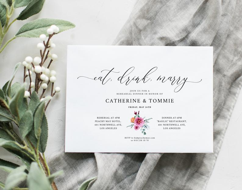Floral Wedding Rehearsal dinner invitation  Template 051