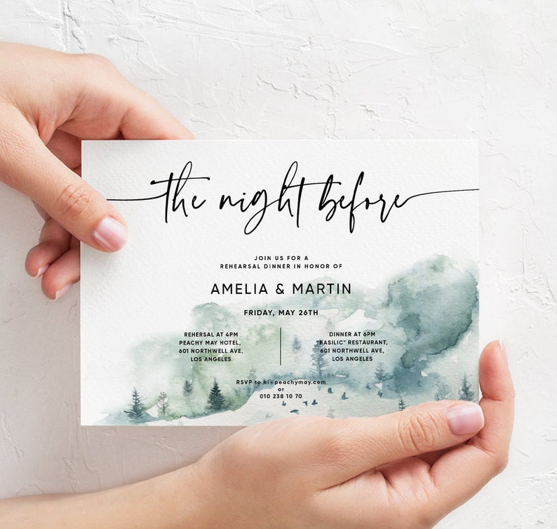 Mountain the Night Before Dinner Invitation Template 052