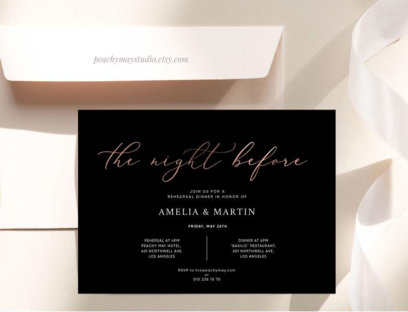 Minimal Rehearsal Dinner Invitation Template 2