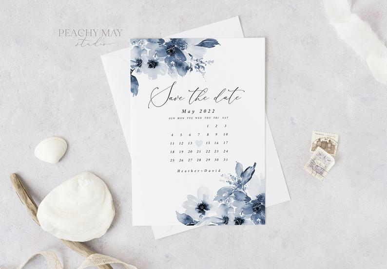Navy Watercolor Calendar Save the Date Template 002