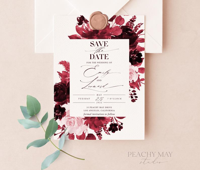 Burgundy Save The Date Template 034