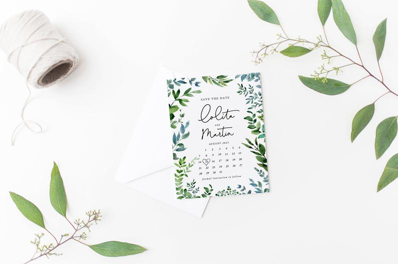 Greenery Calendar Save the Date Template 049