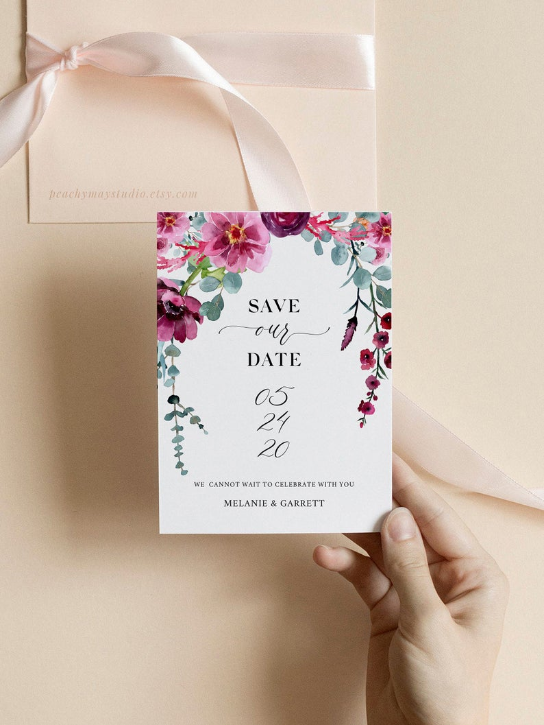 Floral Eucalyptus Save The Date Template 051