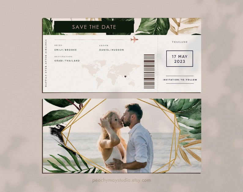 Tropical Destination Wedding Boarding Pass Template 056