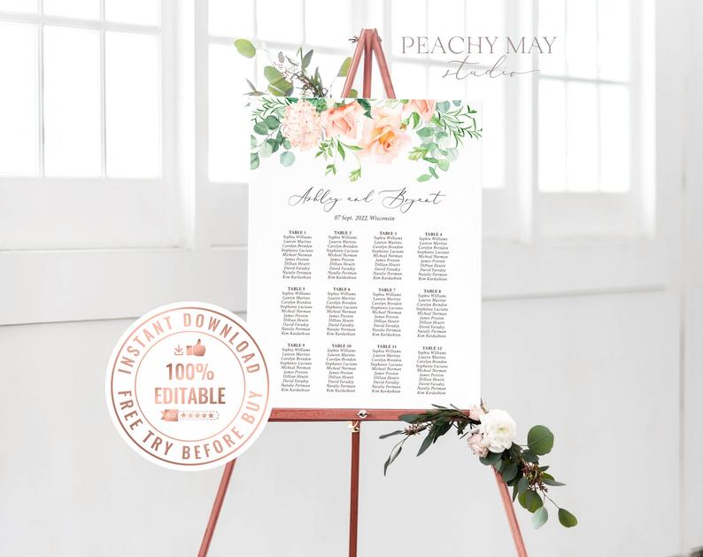 Wedding Seating Chart Template 025