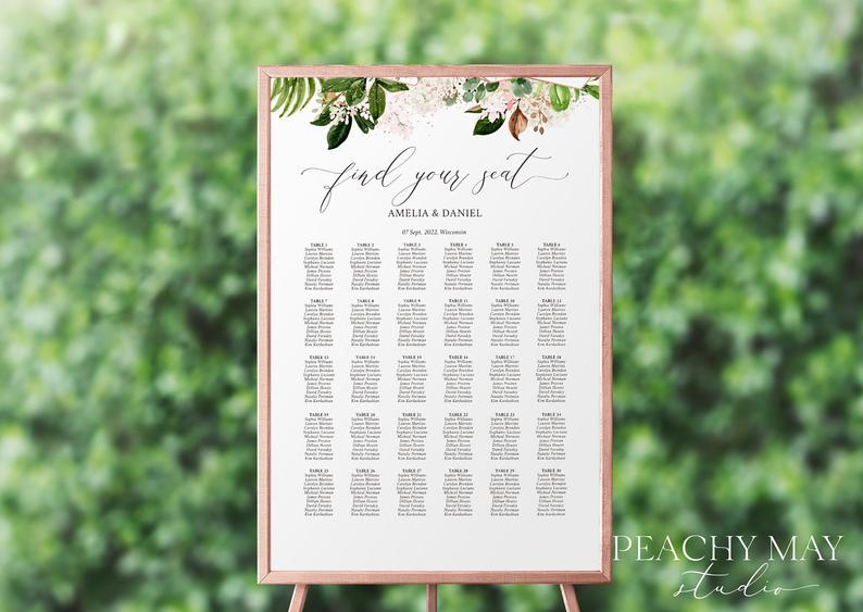 Wedding Seating Chart Template 027