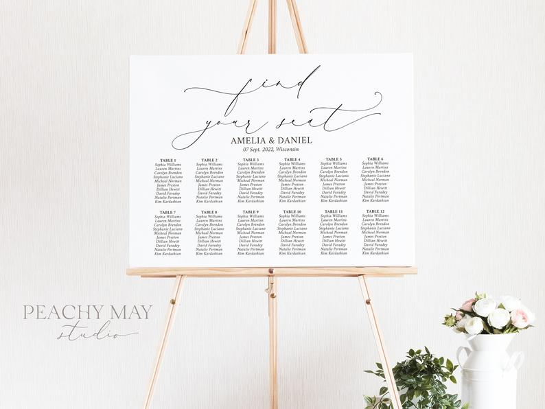 Wedding Seating Chart Template 030