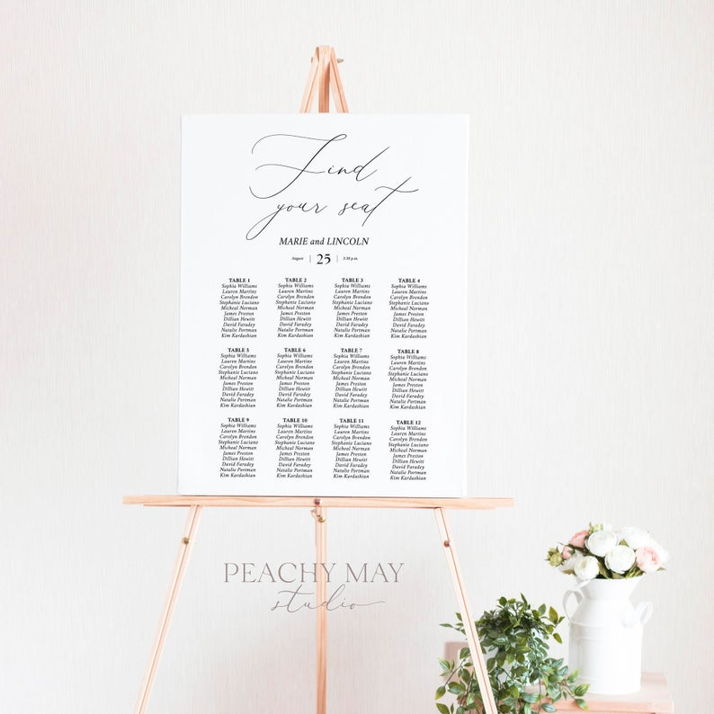 Wedding Seating Chart Template 031