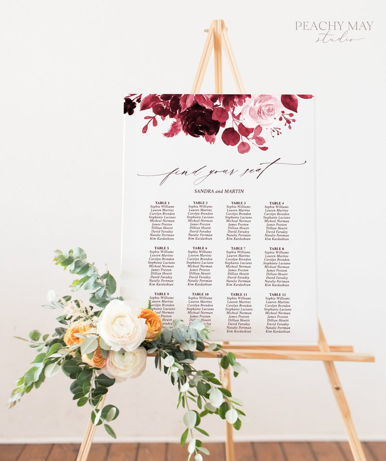 Burgundy Wedding Seating Chart Template 034 Www Peachcreme Com