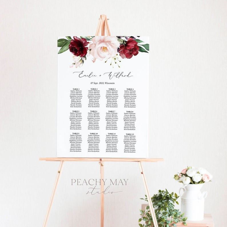 Burgundy Wedding Seating Chart Template 037
