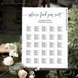 Portrait Minimalist Wedding Seating Chart Template 045