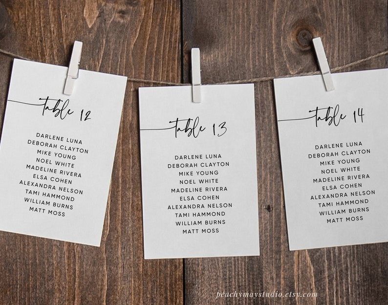 Minimalist Wedding Seating Chart Template 045