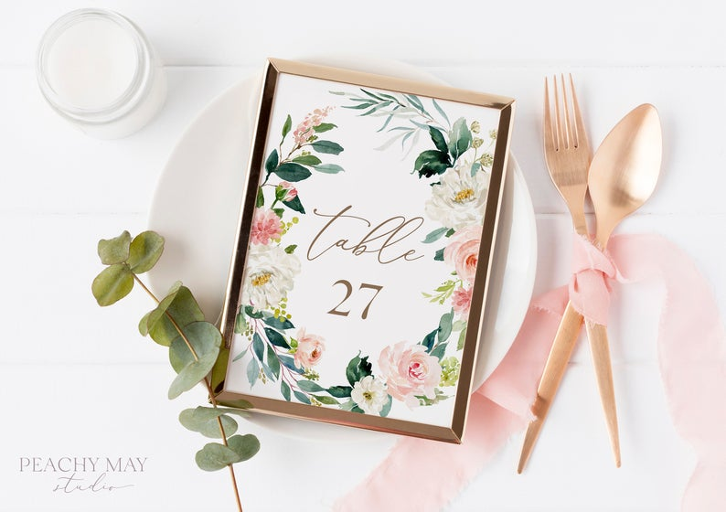 Blush Floral Printable Table Numbers Template 013
