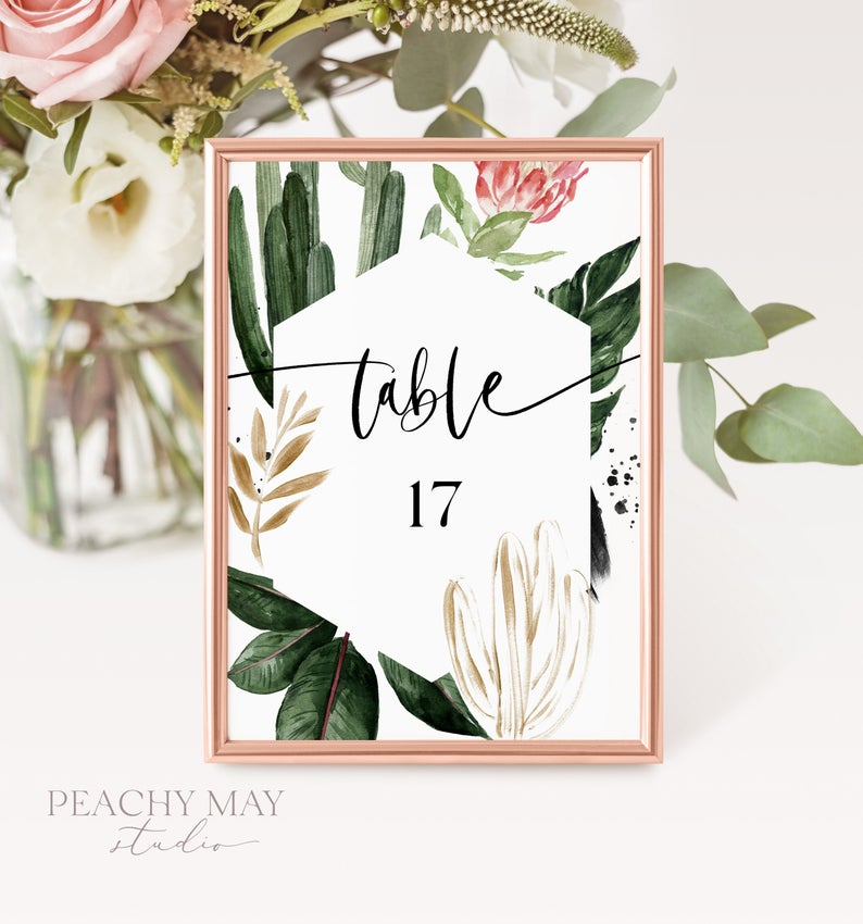 Tropical Printable Table Numbers Template 016