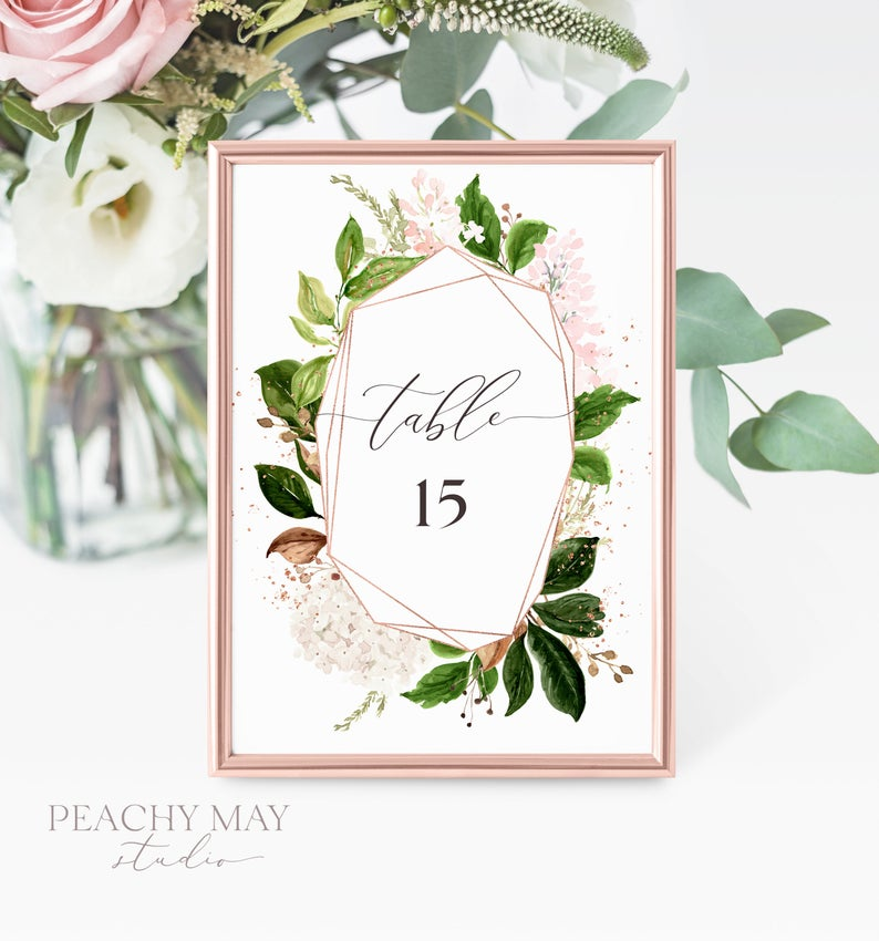 Foliage Printable Table Numbers Template 027