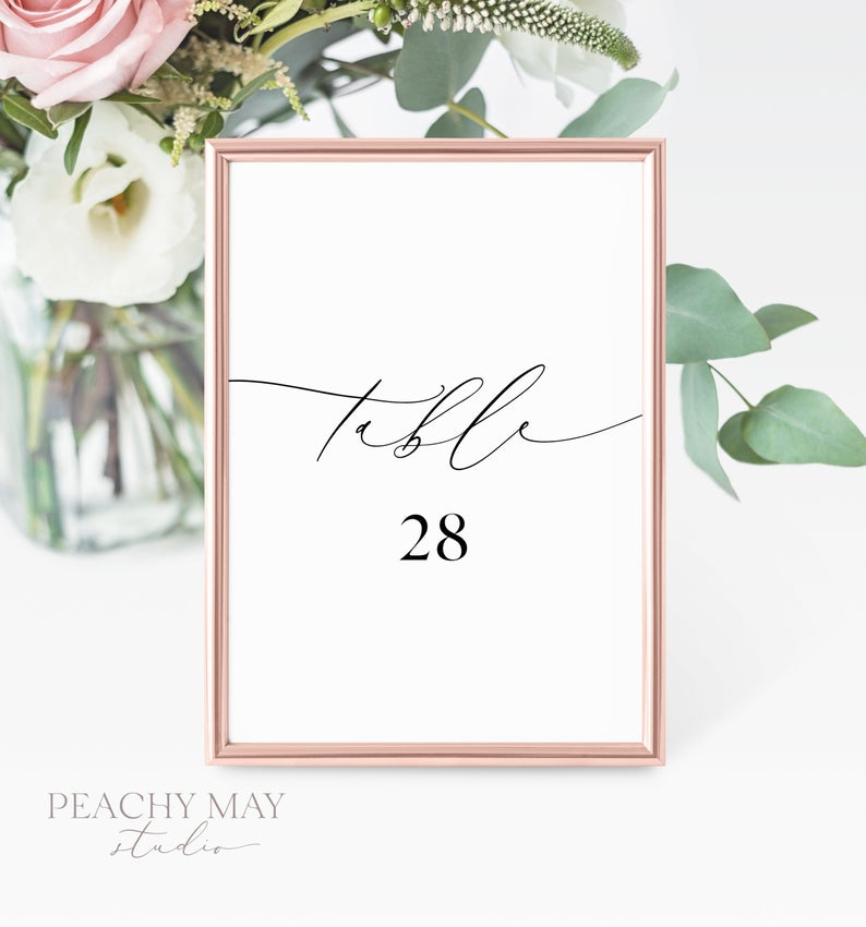 Minimalist Printable Table Numbers Template 030